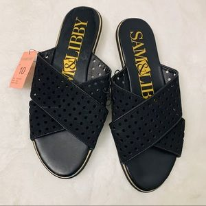 NWT Sam & Libby Black Faux Leather Slides